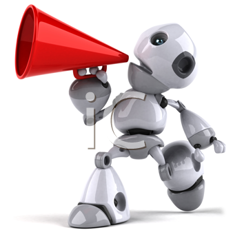 Royalty Free Clipart Image of a Robot With a Megaphone