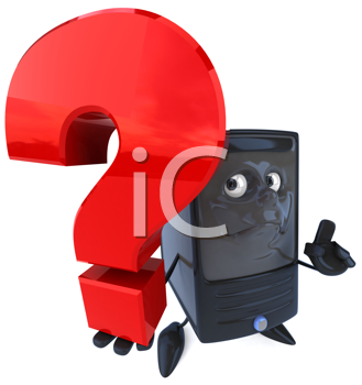 Royalty Free Clipart Image of a Computer With a Question