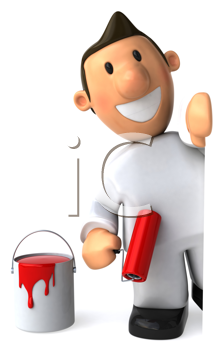 Royalty Free Clipart Image of a Painter With a Red Roller and Paint Bucket
