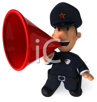 Royalty Free Clipart Image of a Police Officer With a Bullhorn
