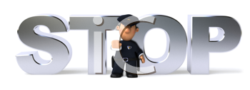 Royalty Free Clipart Image of a Police Officer in Front of the Word Stop