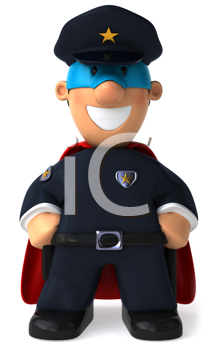 Royalty Free Clipart Image of a Superhero Policeman