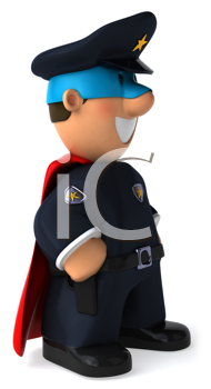 Royalty Free Clipart Image of a Superhero Police Officer