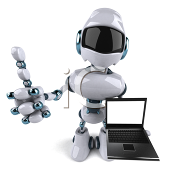 Royalty Free Clipart Image of a Robot With a Computer