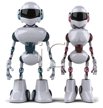 Royalty Free Clipart Image of a Robot Couple