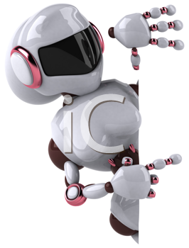 Royalty Free Clipart Iage of a Female Robot Peaking Around a Wall