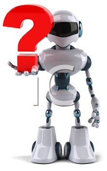 Royalty Free Clipart Image of a Robot With a Question Mark