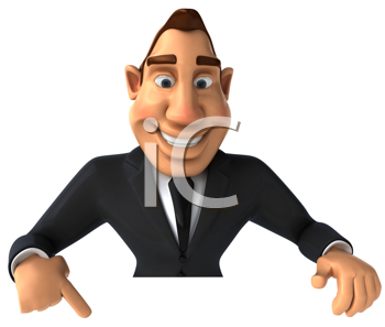 Royalty Free Clipart Image of a Businessman Pointing