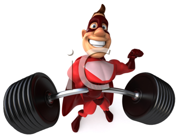 Royalty Free Clipart Image of a Superhero With Barbells