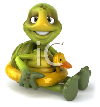 Royalty Free Clipart Image of a Turtle With a Duck Float