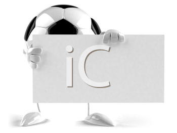 Royalty Free 3d Clipart Image of a Soccer Ball Character Holding a Sign