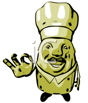 Royalty Free 3d Clipart Image of a Green Lined Chef Giving an Okay Sign