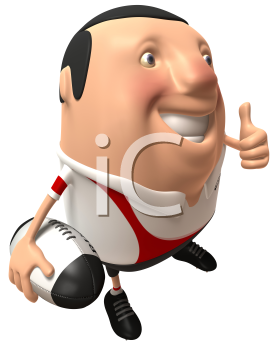 Royalty Free 3d Clipart Image of Rugby Player Holding a Ball and Giving a Thumbs Up Sign
