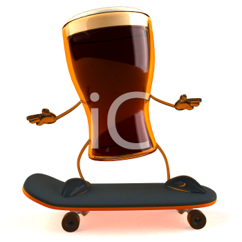 Royalty Free 3d Clipart Image of a Beer Glass Character Riding a Skateboard