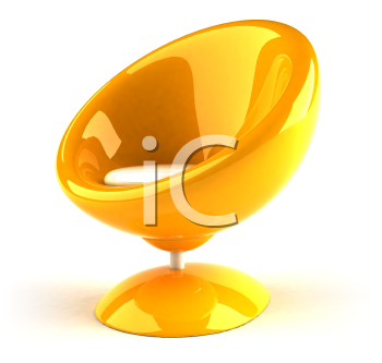 Royalty Free 3d Clipart Image of a Yellow Bubble Chair