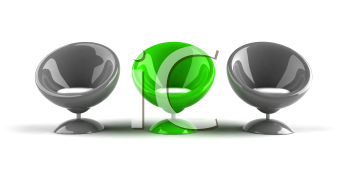 Royalty Free 3d Clipart Image of Gray and Greeen Bubble Chairs