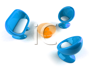 Royalty Free 3d Clipart Image of Blue Bubble Chairs and Loveseat and an Orange Table