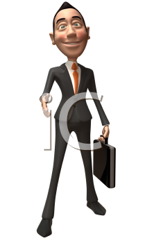 Royalty Free 3d Clipart Image of an Asian Businessman Holding a Briefcase Inviting Viewer to Shake Hands