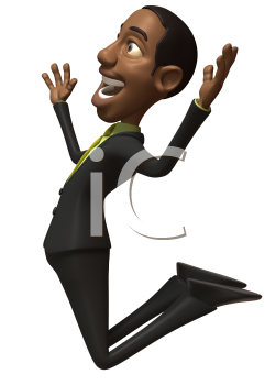 Royalty Free 3d Clipart Image of an African American Businessman Jumping in the Air