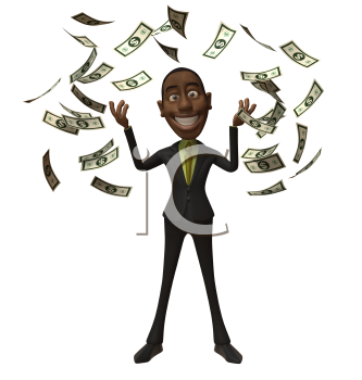 Royalty Free 3d Clipart Image of an African American Businessman With Money Raining Down Around Him