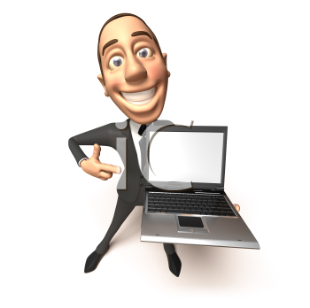 Royalty Free 3d Clipart Image of a Businessman Holding a Laptop Computer