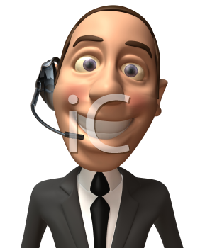 Royalty Free 3d Clipart Image of a Businessman Wearing a Telephone Headset