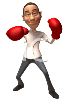 Royalty Free 3d Clipart Image of an Businessman Wearing Red Boxing Gloves