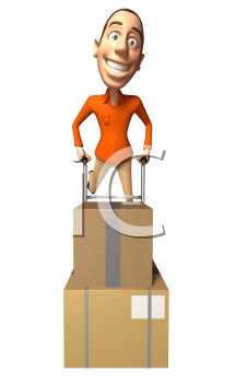 Royalty Free 3d Clipart Image of a Man Pushing a Dolly Cart with Cartons on it