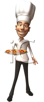 Royalty Free Clipart Image of a Chef With a Pizza Plate