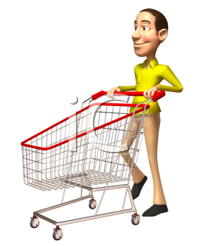 Royalty Free 3d Clipart Image of a Man Pushing a Shopping Cart