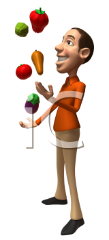 Royalty Free 3d Clipart Image of a Man Juggling Vegetables