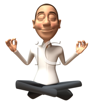 Royalty Free 3d Clipart Image of a Man Meditating