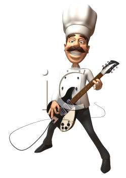 Royalty Free 3d Clipart Image of a Chef Playing an Electric Guitar