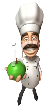 Royalty Free 3d Clipart Image of a Chef Holding a Green Apple