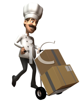 Royalty Free 3d Clipart Image of a Chef Pushing a Dolly Cart with Cartons on it