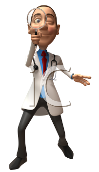 Royalty Free 3d Clipart Image of a Physician Looking Through a Magnifying Glass