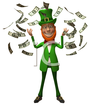 Royalty Free 3d Clipart Image of an Leprechaun Surrounded by Floating Dollar Bills