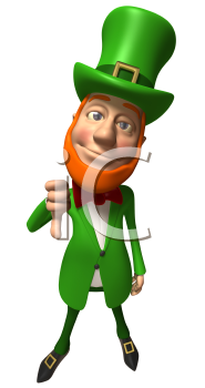 Royalty Free 3d Clipart Image of a Leprechaun Giving a Thumbs Down Sign