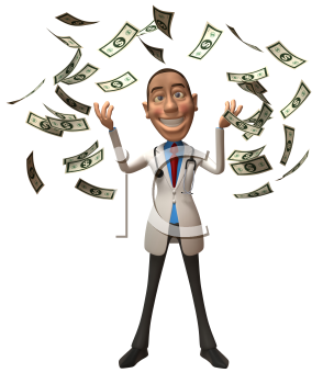 Royalty Free 3d Clipart Image of a Physician With Money Raining Down Around Him