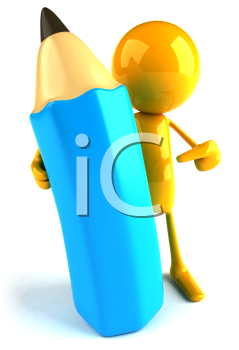 Royalty Free 3d Clipart Image of a Yellow Guy Holding a Large Pencil
