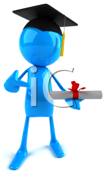 Royalty Free Clipart Image of a Blue Guy With a Mortarboard and Diploma