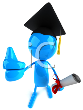 Royalty Free Clipart Image of an Image Wearing a Mortarboard and Carrying a Diploma and Giving a Thumbs Up