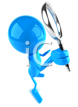 Royalty Free 3d Clipart Image of a Blue Guy Holding a Magnifying Glass