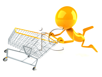 Royalty Free 3d Clipart Image of a Yellow Guy Pushing a Shopping Cart