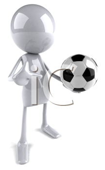 Royalty Free 3d Clipart Image of Soccer Player Holding a Ball