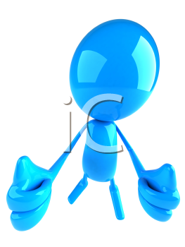 Royalty Free 3d Clipart Image of a Blue Character Giving Thumbs Up Signs