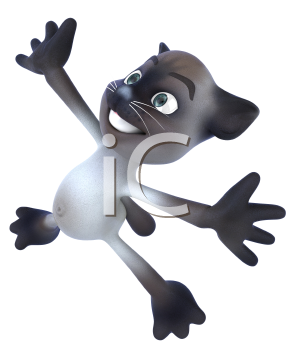 Royalty Free 3d Clipart Image of a Cat Jumping