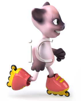 Royalty Free Clipart Image of a Pink Cat on Roller Blades