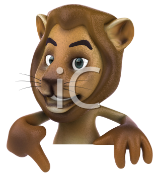 Royalty Free 3d Clipart Image of a Lion Pointing to a Sign Board