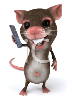 Royalty Free Clipart Image of a Mouse With a Cellphone